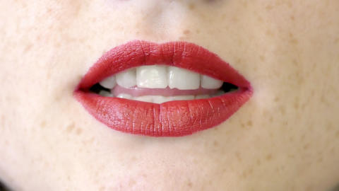 Close Up Of Woman Lips Singing A Song Footage
