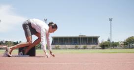 Businesswoman running Footage