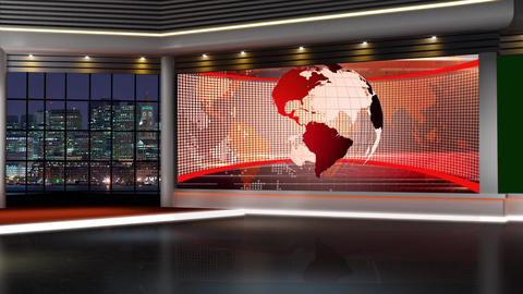 News TV Studio Set 145-Virtual Green Screen Background Loop Footage