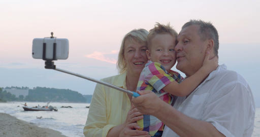 Happy selfie with grandparents Footage
