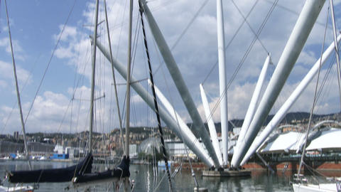 Sailing boats docked in the old port of Genoa Live Action