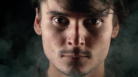 smoking kills on black background Footage