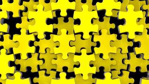Yellow Jigsaw Puzzle On Black Background Animation