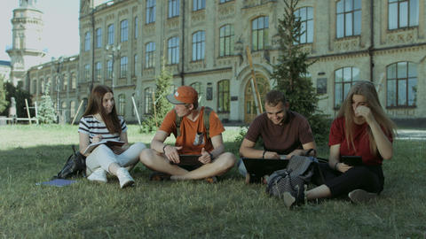 Group of students sharing the ideas on campus lawn Footage