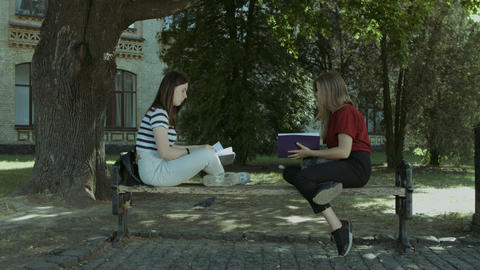 Two college girls talking on the bench after study GIF