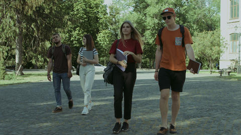 Cheerful student friends going to university Footage