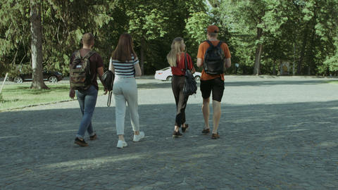 Group of student friends walking after lecture Footage