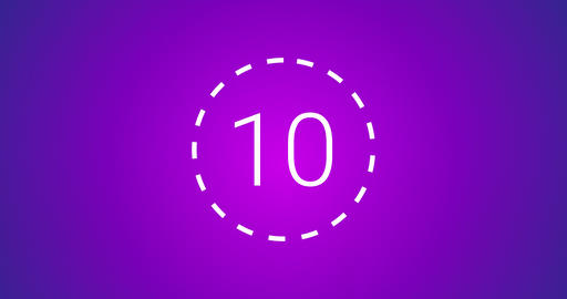 Modern Countdown 4K (10 seconds). Pink Blue Background. White numbers Animación