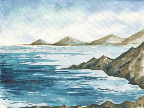 Ocean watercolor hand painting illustration Photo