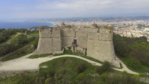 Aerial view of ancient fortress of Menton situated on French Riviera, Cote dAzur Live Action