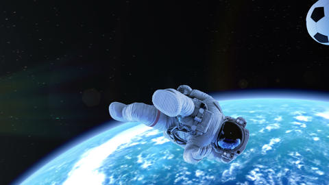 Astronaut Performs Bicycle Kick in Outer Space Animation