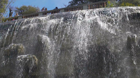 Beautiful view of waterfall in the Parc de la Colline du Chateau, Nice, tourism Footage