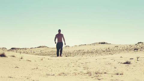 Man in desert Footage