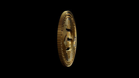 3D Cutout Bitcoin coming and going on alpha background Animation