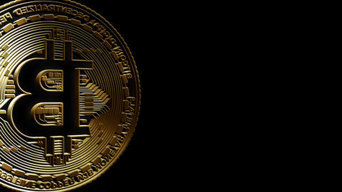 3D Cutout Bitcoin passing Left to Right on alpha background Stock Video Footage