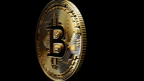 3D Cutout Bitcoin passing Left to Right on alpha background Animation