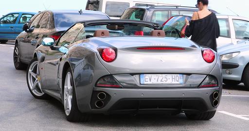 Gray Ferrari California Rear View GIF
