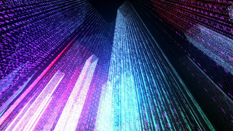 Flying Through the Digital Neon City in telecommunication internet network. Animation