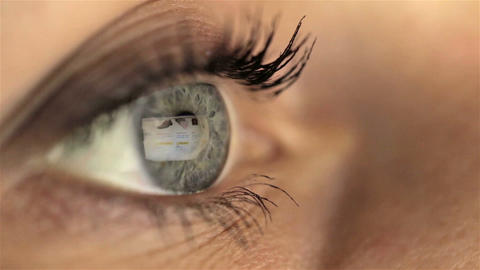 Woman girl eye macro looking monitor, online shoping Internet amazon Footage