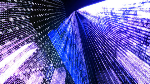 Flying Through the Digital Neon City in telecommunication internet network Animation
