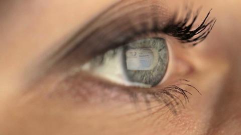 Woman girl macro eye looking monitor, surfing Internet wikipedia Footage