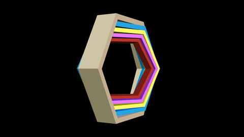 3d video with hexagonal shapes in different colors, zooming and turning on black Animation