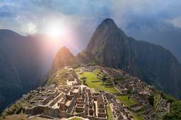 Machu Picchu Under Sun Lights Photo