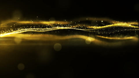 Abstract gold color digital particles wave environment motion background Animation