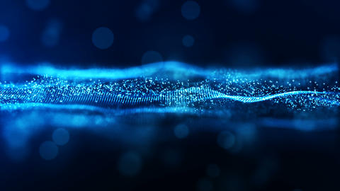 Abstract blue color digital particles wave environment motion background Animation