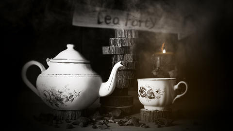 4K Cinemagraph - Cup of Tea and Teapot On Wooden Table With Arrow Sign, Smoke GIF