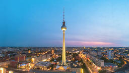 Berlin city skyline day to night timelapse at alexanderplatz with Berlin TV Footage