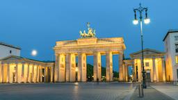 Berlin city skyline night to day timelapse at Brandenburg Gate (Brandenburger Footage