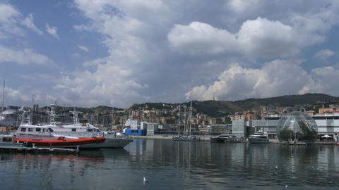 Panoramic view of the old port of Genoa, Italy Live Action