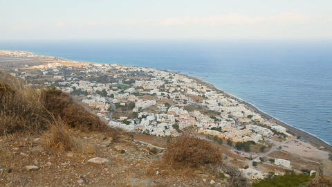 View of beautiful densely populated island of volcanic origin, Santorini, Greece Live Action