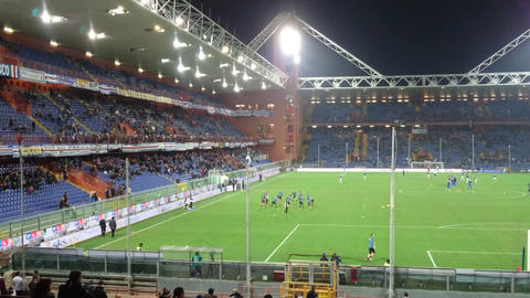 Teams training in Luigi Ferraris stadium in Genoa, Italy, before a soccer match Live Action