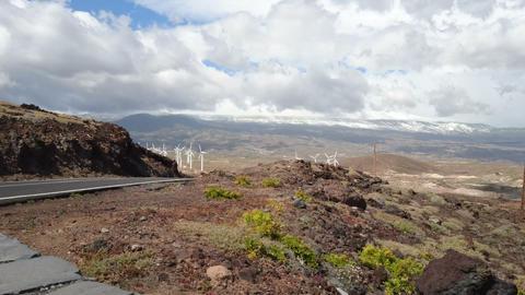 Wind turbines in function in Tenerife Footage