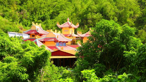 Oriental Temple Building Rooftop Among Tropical Vegetation HD Footage ビデオ