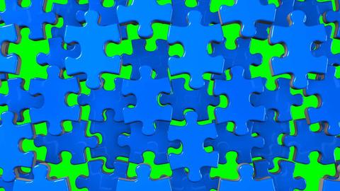 Blue Jigsaw Puzzle On Green Chroma Key Animation