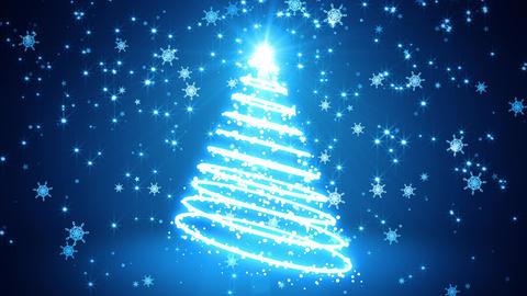 Blue Glowing Light Streaks Christmas Tree Animation