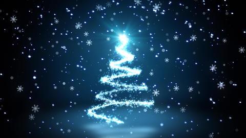 Blue Glittering Sparkles christmas Tree Animation