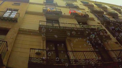 Soap Bubbles Narrow City Street Footage