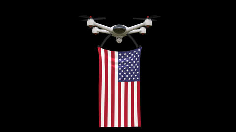 Drone flying United States flag Animation
