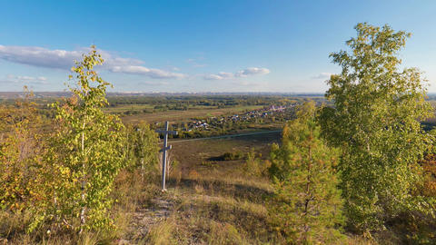 Panoramic shot of Russian nature from a hill Footage