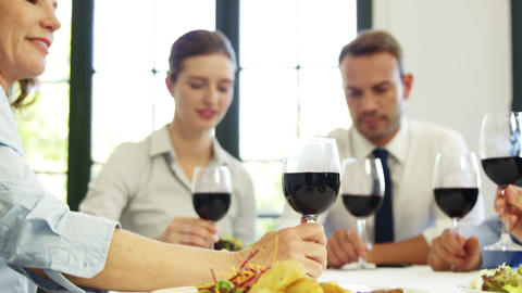 Business people toasting with red wine Footage