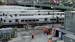 New York City 624 trains on sidings and railway workers; Chelsea Footage