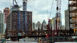 New York City 627 construction sites with cranes beside High Line Park Footage