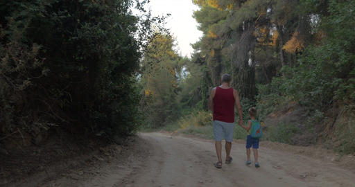 Grandpa and grandson having evening walk in woods Footage