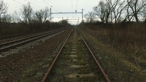 Railway lines during cloudy day Footage