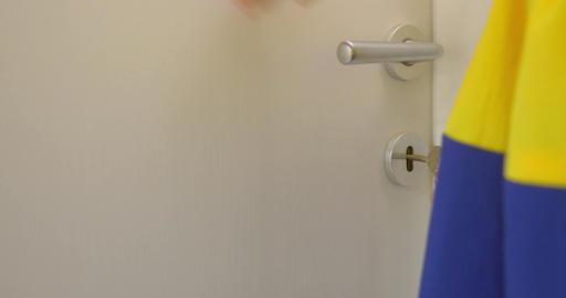 Opening the Room Door Footage
