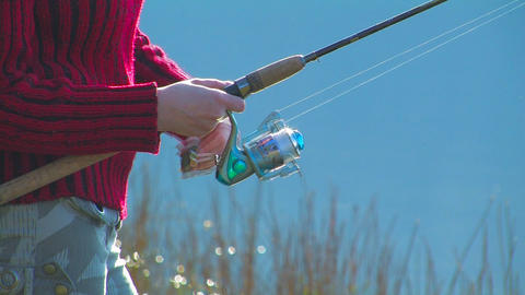 Fishing On The Lake stock footage